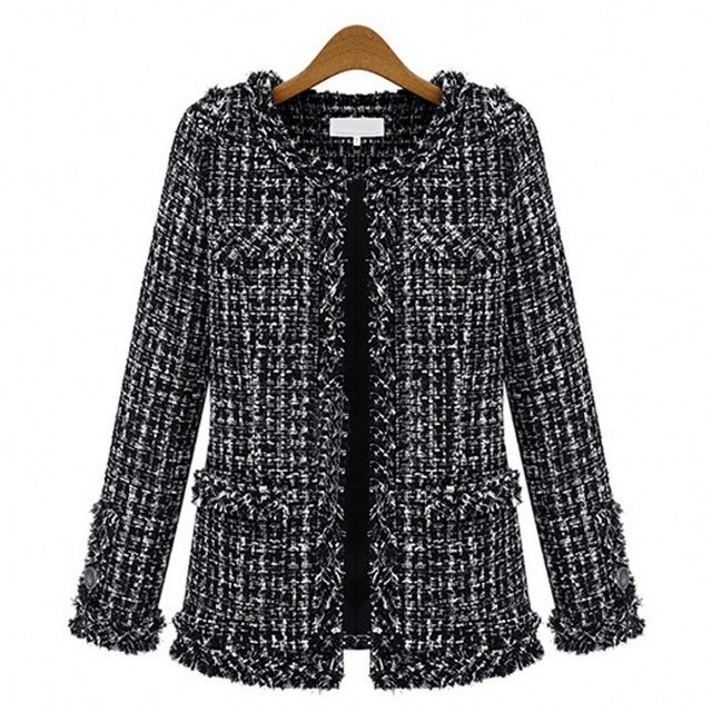 Ladies coats Women Fashion Coat Autumn Winter Thin Black Checkered Tweed Casual Plaid Jacket  loose outwear Large size