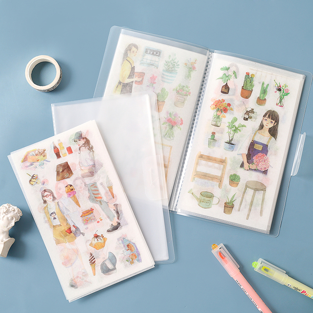 6Sheets/Pack With storage clip Kawaii Stationery Stickers  Lovely Paper Stickers For Kids DIY Diary Scrapbooking Photo Ablums