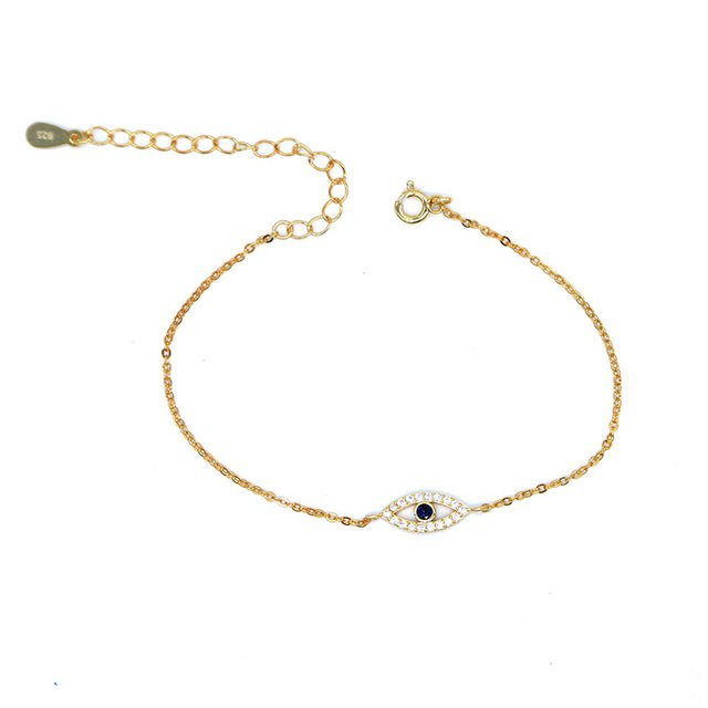 Real 925 sterling silver black friday turkish evil eye micro pave cz gold thin adjustable Link Chain charm Bracelets for women