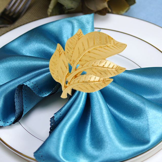 1pc Fall Leaves Napkin Rings Gold Silver Christening Bangle Metal Napkin Holder Wedding Gifts Baptismal Shower Party Decor