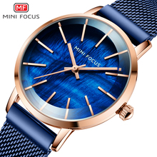 MINI FOCUS Simple Casual Women Watches Brand Luxury Blue Mesh Strap Fashion Elegant Lady Wristwatches/Clock Relogio Feminino