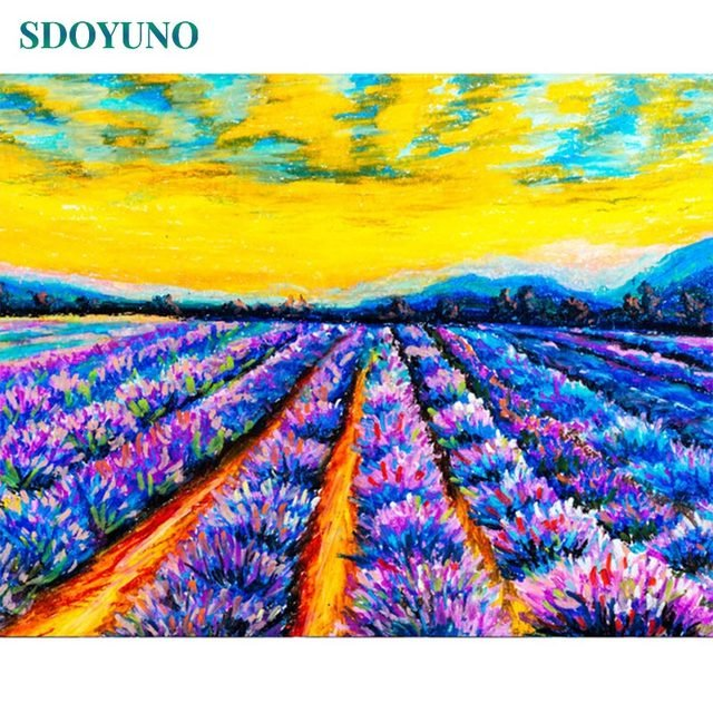 GATYZTORY 60x75cm Frameless Painting By Numbers Lavender field Digital Painting DIY Pictures by numbers On Canvas
