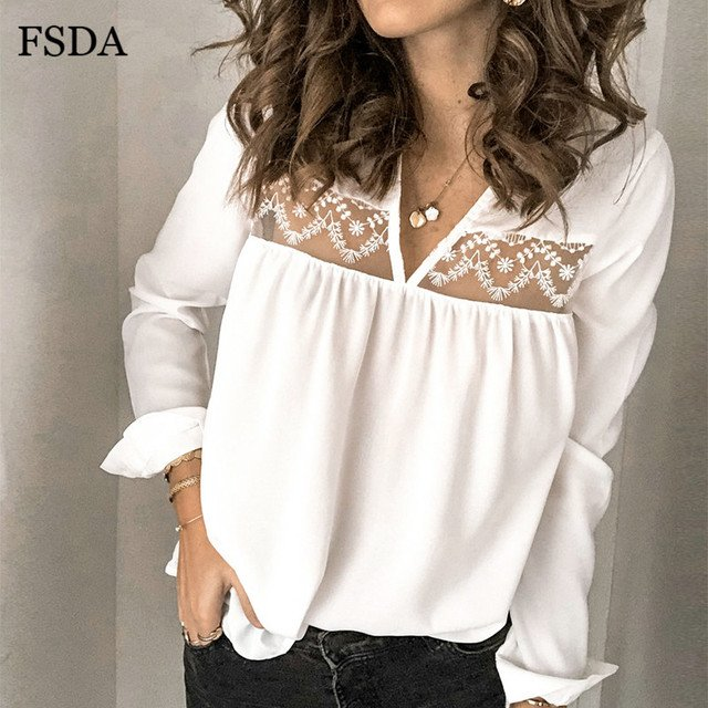 FSDA V Neck Lace Patchwork Blouse Lady Backless Sexy Spring Long Sleeve Women Casual Elegant Beach 2020 Tops Summer Shirt