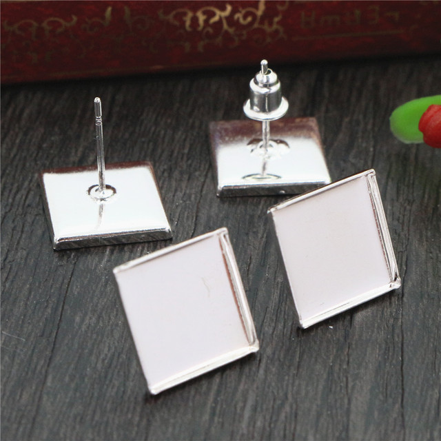 12mm 20pcs Silver Plated Square Earring Studs,Earrings Blank/Base,Fit 12mm Glass Cabochons,Buttons;Earring Bezels (L4-10)