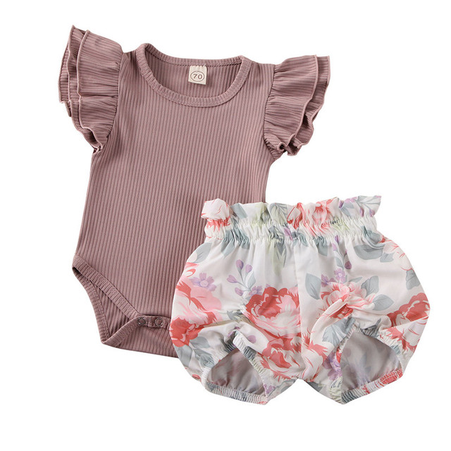 Toddler Baby Girls Summer Clothes Ruffles Sleeve O-neck Ribbed Knitted Romper Jumpsuit+Floral Shorts Baby Girls Clothing Outfits