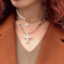 Fashion Multilayer Chain Collar Choker Necklace Vintage Cross Lmitation Pearl Necklace Women Jewelry Wholesale