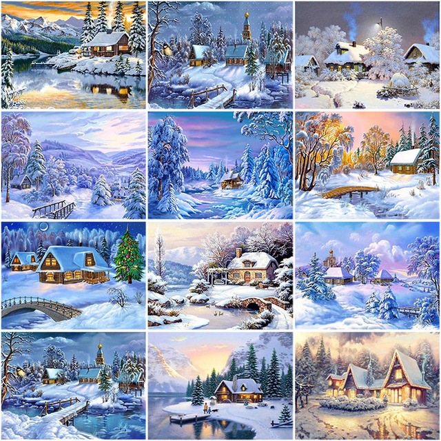 DIY 5D Diamond Painting Winter Snow Scenery Mosaic Landscape Picture Rhinestone Full Round Diamond Embroidery Cross Stitch Kits