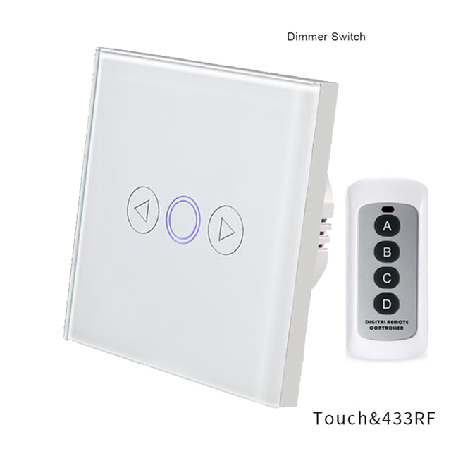 Dimmer Touch Switch 1 Gang Wall Light Switch EU Standard Crystal Glass Panel Remote Control Light Switch RF 433mhz Controller