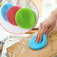 BRIDAY 1pcs Magic Cleaning Brushes Silicone Dish Bowl Scouring Pad Pot Pan Easy to clean Wash Brush Cleaning Kitchen@1
