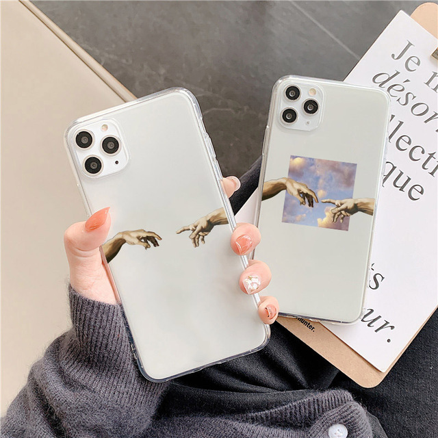 Funny Finger Pattern Clear Phone Case For iphone 12 mini 11 Pro XS Max X XR Case for iPhone SE 2020 7 8 6 plus Cute soft Cover