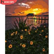HUACAN Oil Painting Flower Drawing Canvas Acrylic Handpainted Home Decor Coloring By Number Sunset Wall Art For Adults