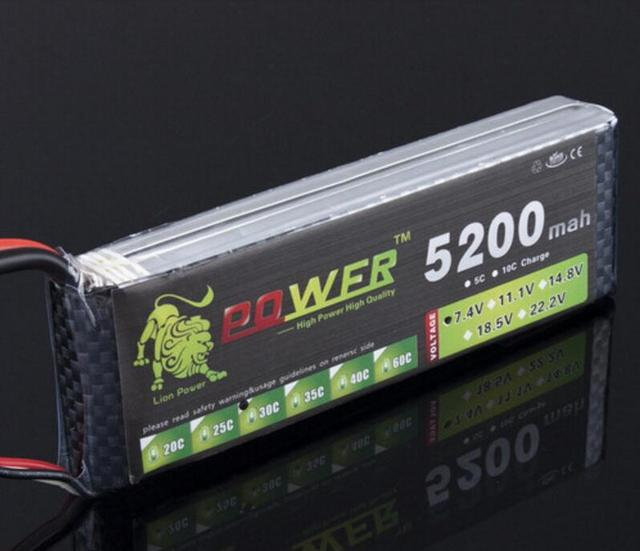 Lion Power 7.4V 5200mAh Lipo Battery 30C-40C 2S 7.4v 30C 2S Lithium-Polymer Batterie For RC car model aircraft toys battery