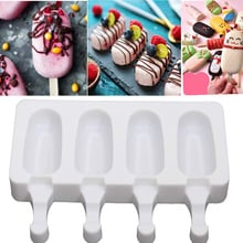 4 Cavities Silicone Freezer Ice Cream Mold candy bar Making Tool Juice Popsicle Molds Children Pop Lolly Tray Ice Cube maker
