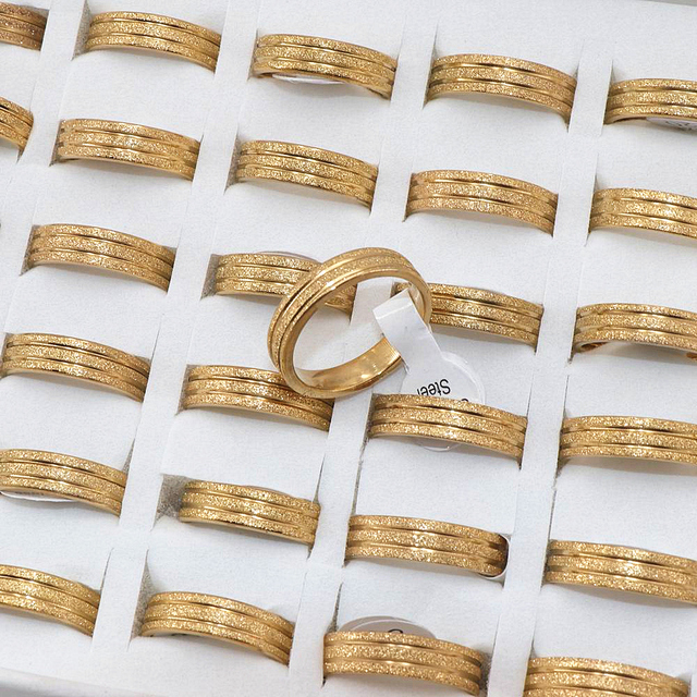 Wholesale 36 Pcs/lot Golden Scrub Strip 6mm Width Stainless steel Rings Mens ring polished inside