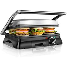 Aigostar Samson 30KLU - Grill, grill, panini, 2000W, sandwich maker with floating lid. large non-stick plates 29.5 x 23.5 cm.