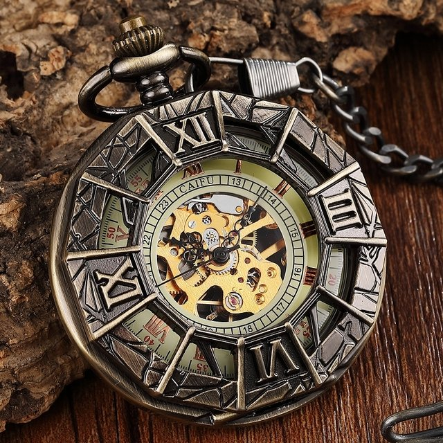 New Skeleton Mechanical Pocket Watch Men Hollow Steampunk Bronze Mechanical FOB Chain Necklace Mens Clock