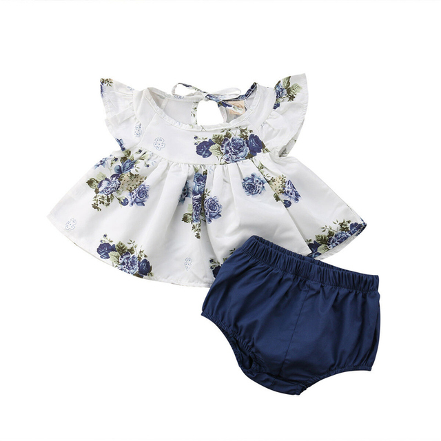 Hot Infant Baby Girls Clothes Set White Short Sleeve Flowers Tops+Blue Shorts Toddler Outfits Summer Children Clothes Set