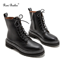 Roni Bouker Hot Women's Winter Ankle Black Boots Woman Lace Up Vintage Booties Women Short Martin Boot Fashion Ladies Shoes
