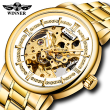 WINNER Golden Skeleton Mechanical Watch Automatic Self-wind Men Watch Top Luxury Brand Male Gifts Clock