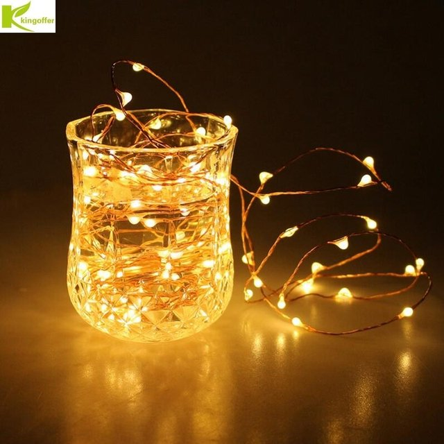 Led Christmas Lights Outdoor 2M 20 LEDs Battery Operated Mini Silver Copper Wire String Fairy Light For Wedding Xmas Garland