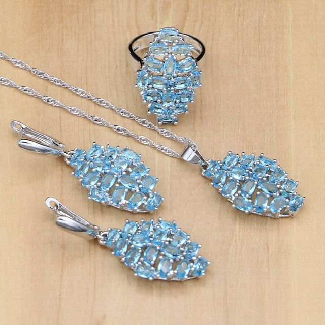 Blue Australian Crystal White Zircon Women 925 Sterling Silver Jewelry Sets Wedding Earring/Pendant/Necklace/Ring Free Gifts Box