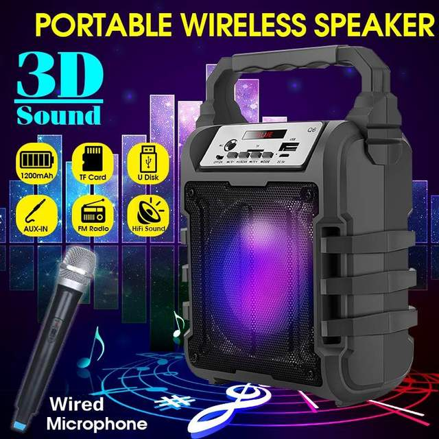 Portable Karaoke Speaker 3D Wireless bluetooth Speaker System Bass Subwoofer FM Radio with Wired Mic Support USB/TF Card/AUX
