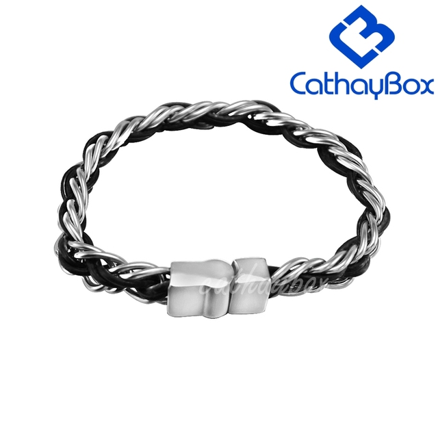 Unisex High Polished 316L Stainless Steel Curb Chain Black Genuine Leather Bracelet