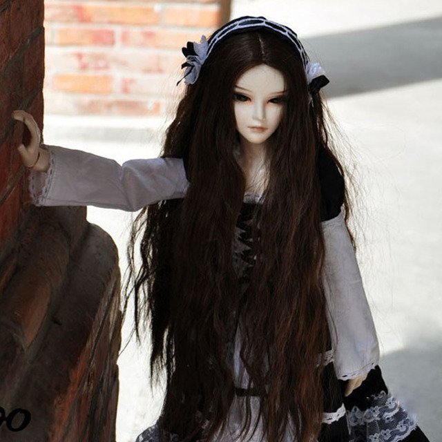 1/3 1/4 1/6 1/8  New Arrival Bjd SD Doll Wig High Temperature Wire Dark Coffee Long Beautiful Wavy For BJD Hair Wig
