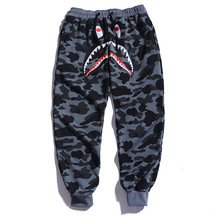 Popular Brand Japanese-style Camouflage Trousers Casual Pants Shark Printed Ankle Banded Pants Harem Baggy Pants Men's