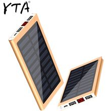 Solar Power Bank External Battery 2 USB LED Powerbank Portable Mobile phone Solar Charger for Xiaomi mi iphone XS 8plus 20000mAH