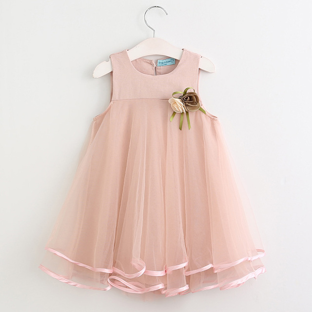 2020 Girls Dresses Summer Princess Dress Sleeveless A-Line Appliques Floral for Girls Clothes Party Dress 3-7Y Bow Clothes