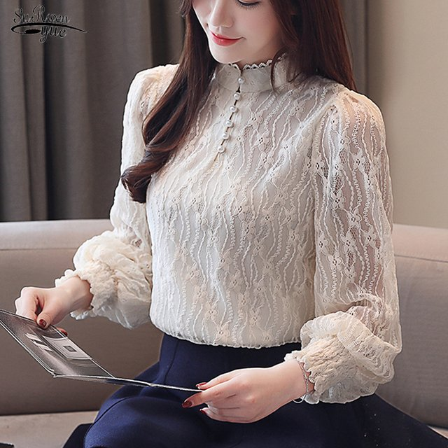 2020 New Long Sleeve Solid Lace Blouse Women Tops Bead Casual Vintage Stand Collar Pullover Shirts Women Camisas Mujer 8056 50