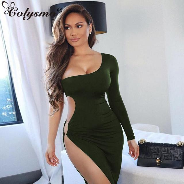 Colysmo Leg Split Sexy Dress Backless One Shoulder Long Dress Midi Dress Women Hollow Out Bodycon Club Party Dresses Vestidos