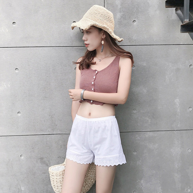 B 2020 Women's Shorts Summer Elegant New Style Fashion Design Cotton Lace Soft Comfortable Solid Color Casual Breathable Shorts