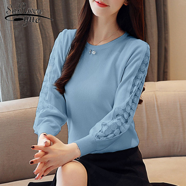 Casual Lace Solid Women Clothing Elegant 2021 Autumn Fashion Women Blouses Long Sleeve O-neck Women Tops blusas mujer 6234 50