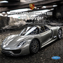 WELLY 1:24 High Simulation Porsche 918 Diecast Metal Alloy Car Model Toys For Children Gift Car Collection Boy