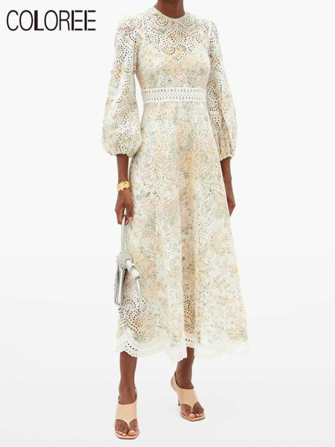Vintage O-neck Long Puff Sleeve Floral Embroidery Cotton Woman Dress 2020 Spring Autumn Runway Designer Long Party Dresses Women