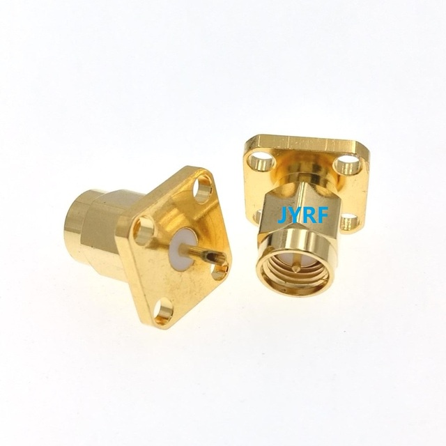 SMA Male 4 Holes Flange Deck Mount Solder RF Connector