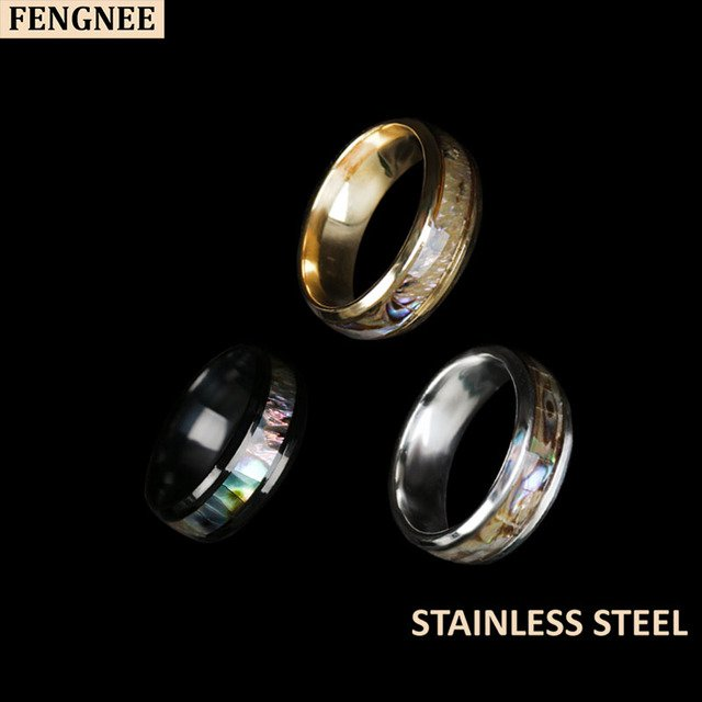 fengnee 316L Stainless Steel Rings For Women men Classic shell Engagement Wedding Ring Jewelry