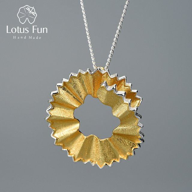 Lotus Fun Real 925 Sterling Silver Handmade Fine Jewelry Creative Pencil Shavings Design Pendant without Necklace for Women Gift