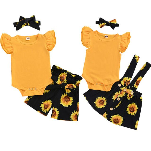 2020 Baby Summer Clothing Newborn Kids Baby Girls Clothes Romper Tops Sunflower Shorts /Overall Skirts Outfits