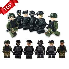NEW 12pcs Military Special Forces Soldiers Bricks Figures Guns Weapons Compatible Legoings Armed SWAT Building Blocks Kids Toys