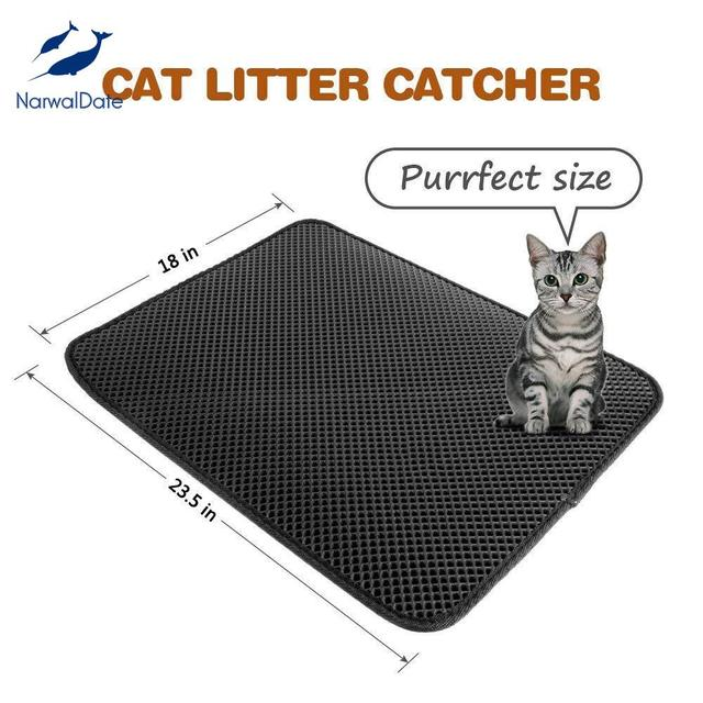 Cat Litter Catcher Mat 2-layer Dust Trapper Pet Pad Waterproof Eco-friendly Kitten Rug Household Sand Cleaning 3 Size  Foldable