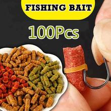 100Pcs/Bag  Red Yellow  Green Fishing Bait Smell Grass Carp Baits Fishing Baits Lure Formula Insect Particle Rods