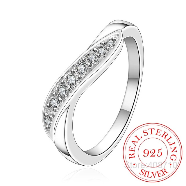 New Jewely 925 Sterling Silver Rings For Women Fine Bijoux Men's Gift Twist Finger Rings Crystal Wedding Party Anillos Mujer