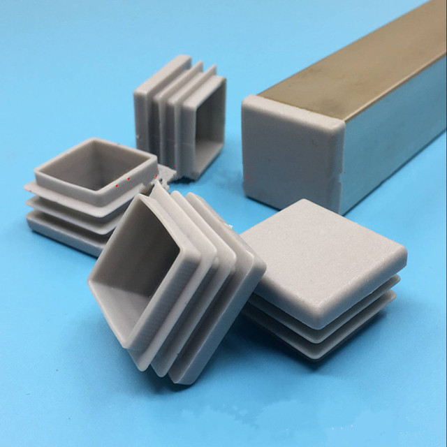 10pcs Gray inner plug Dust cover Plastic square tube Pipe Blanking End Cap Bung For Furniture chair table Steel Leg Protector