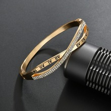 New Fashion Classic Women's Bangles For Women Gold Silver Rose Gold Color Rhinestone Bracelet Cuff Simple Trendy Jewelry