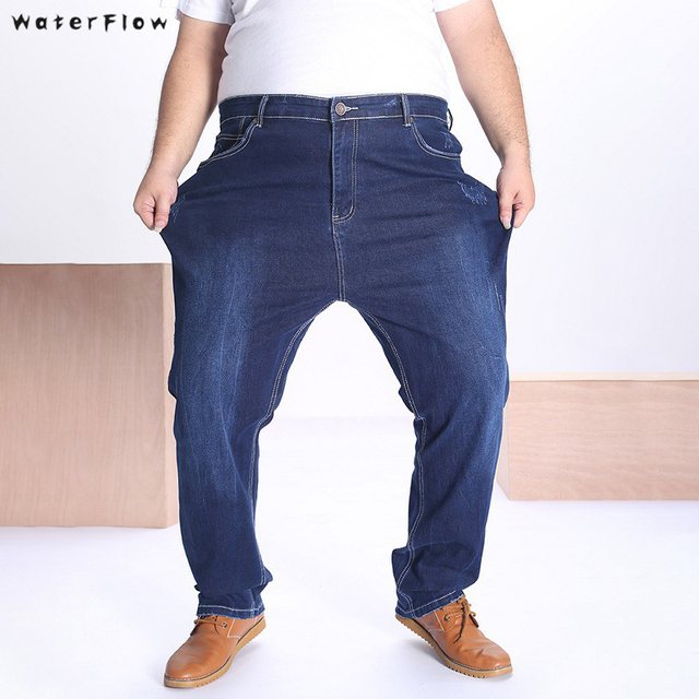 2019 new Pants Mens Summer Big and Tall Stretch Relax Straight Fit Trousers Pants Plus Size 36 To 48 Jeans  elasticity trousers