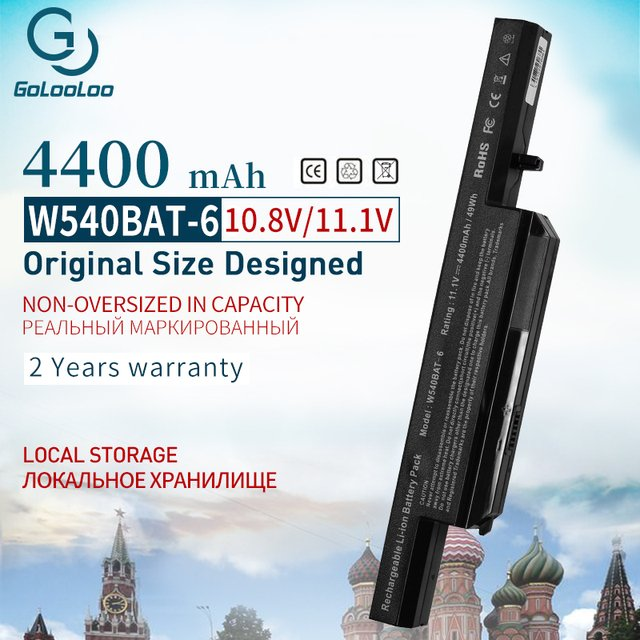 4400MAH Battery W540BAT-6 For CLEVO W540BAT 6 W450 W550SU1 W550SU2 W551SU1 6-87-W540S-427 6-87-W540S-4U4