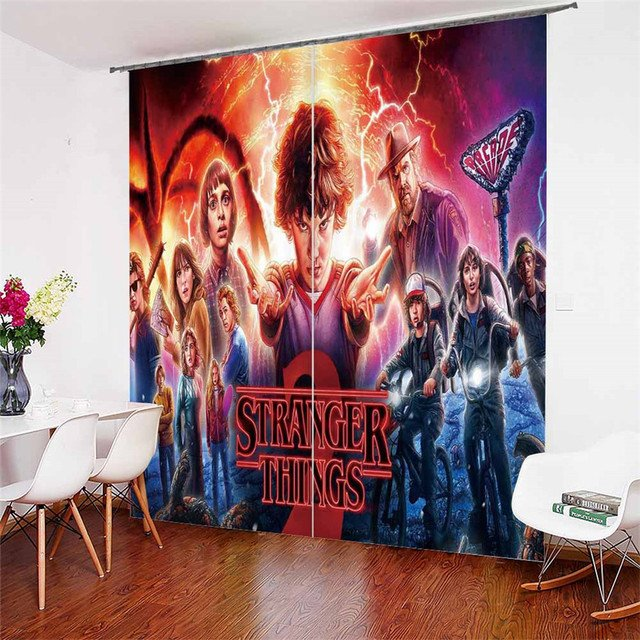 3D Window Curtains Stranger Things Print for Living Room Bedding Room Home Decor Tapestry Wall Carpet Drapes Cotinas